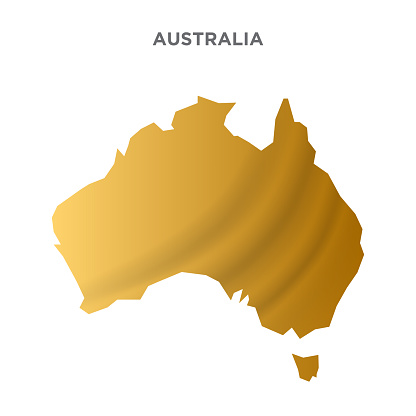 Australia map concept design. concept for advertising, banners, leaflets and flyers. Gold Colored map. Vector illustration.
