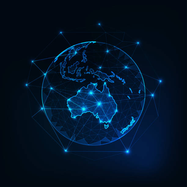 australia map continent outline on planet earth view from space abstract background. - acute angle stock illustrations