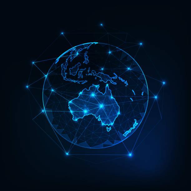 bildbanksillustrationer, clip art samt tecknat material och ikoner med australien karta kontinenten kontur på planet earth-vyn från utrymme abstrakt bakgrund. - australia
