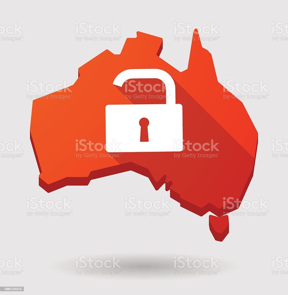 Australia Map Icon.Australia Map Icon With A Lock Pad Stock Illustration Download Image Now