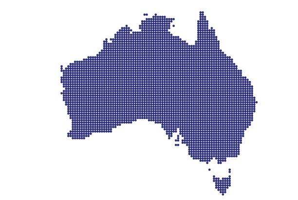 bildbanksillustrationer, clip art samt tecknat material och ikoner med australien karta i blå prick form på vit bakgrund - chain studio