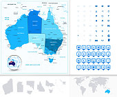 Australia Map in colors of blue with navigation icons