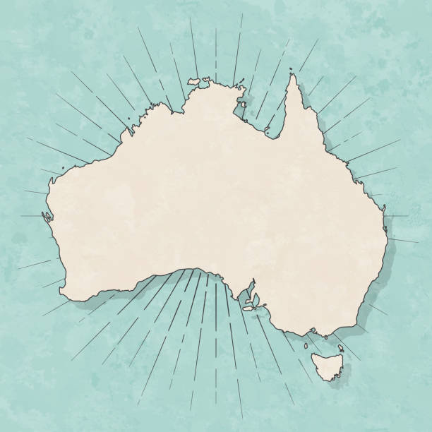 Australia map in retro vintage style - Old textured paper Map of Australia in a trendy vintage style. Beautiful retro illustration with old textured paper and light rays in the background (colors used: blue, green, beige and black for the outline). Vector Illustration (EPS10, well layered and grouped). Easy to edit, manipulate, resize or colorize. australia stock illustrations