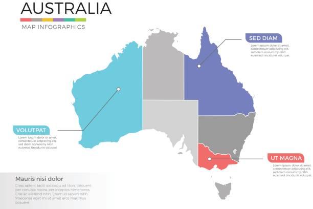 bildbanksillustrationer, clip art samt tecknat material och ikoner med australien karta infographics vector mall med regioner och pekmarkeringarna - australia