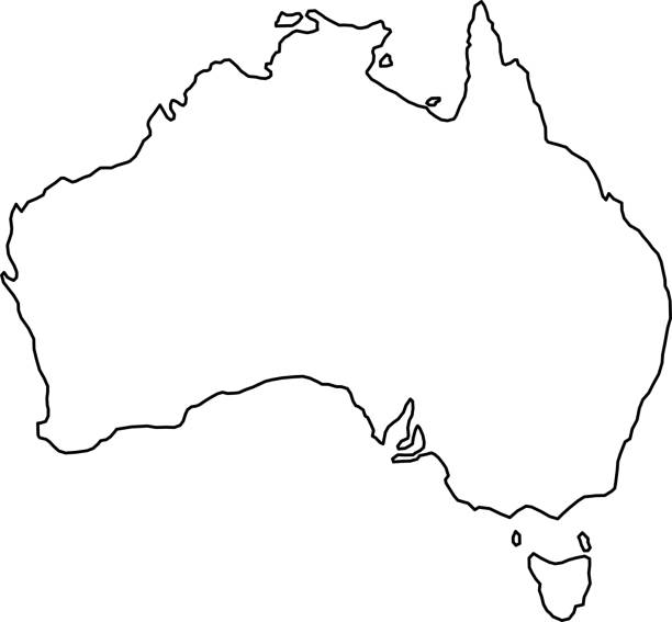 Australia map of black contour curves of vector illustration vector art illustration