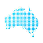 Australia map of blue dots on white background