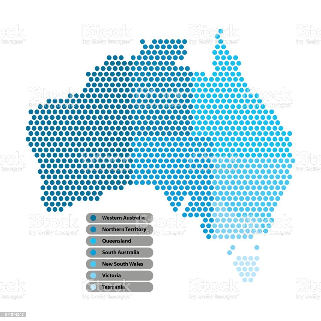 Australia Map of circle shape with the provinces colored in bright colors on white background. Vector illustration dotted style. vector art illustration