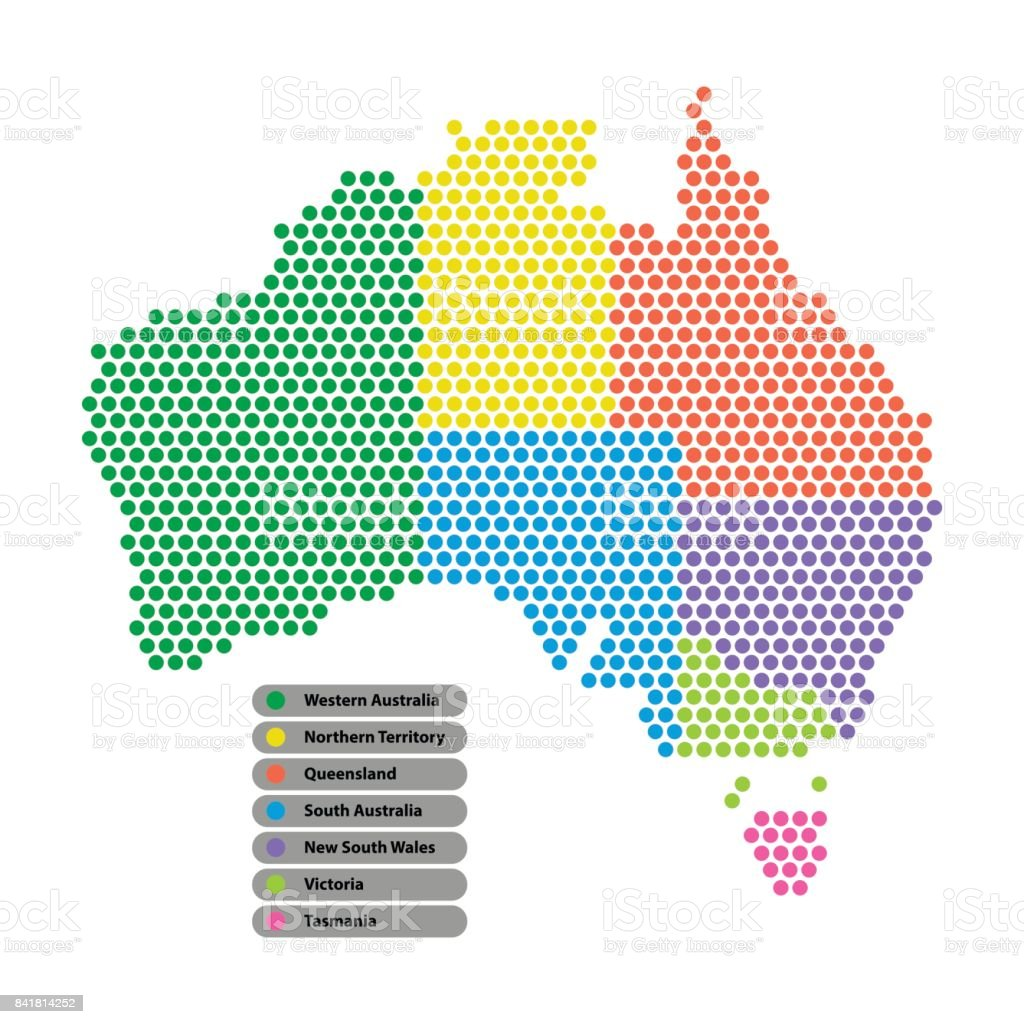 Australia Map Provinces.Australia Map Of Circle Shape With The Provinces Colored In Bright