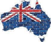 Australia map on a brick wall