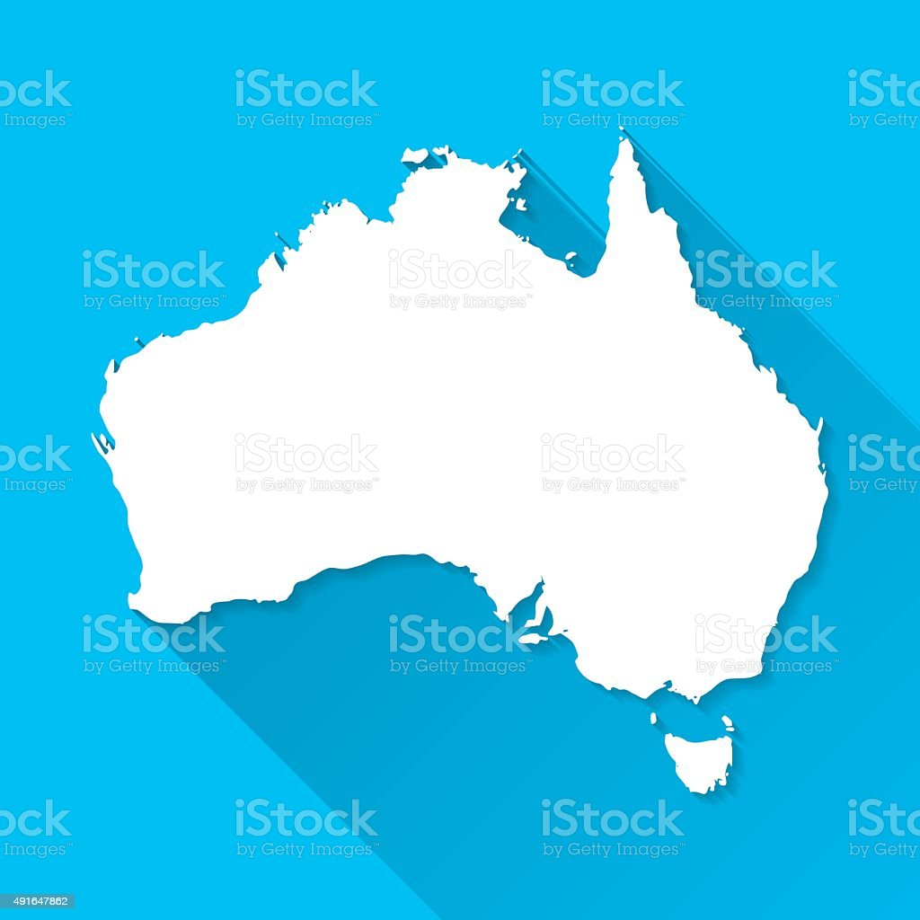 Australia Map on Blue Background, Long Shadow, Flat Design vector art illustration