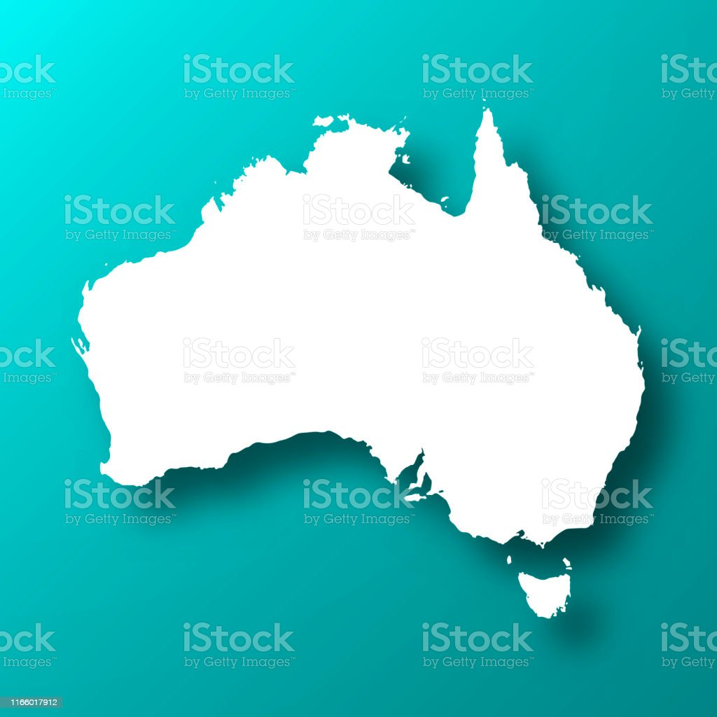 Australia map on Blue Green background with shadow - Royalty-free Abstract stock vector