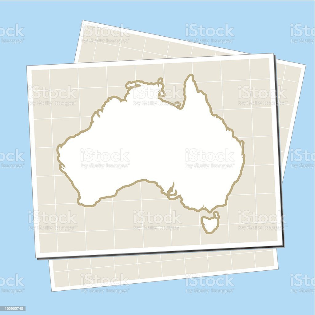 Australia map on paper background royalty-free stock vector art