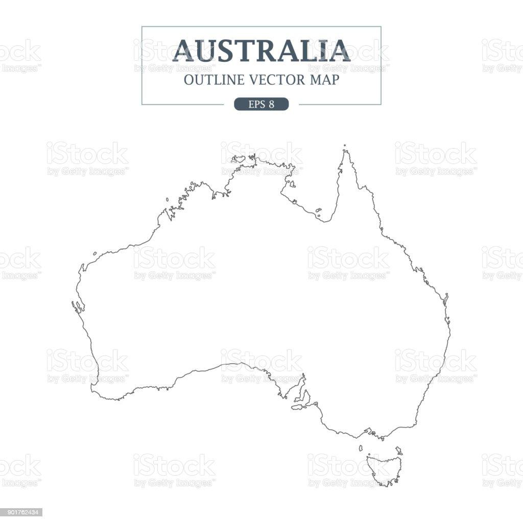Australia Map Black And White Outline.Australia Map Outline Border On White Background Vector