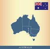 Australia map outline vector and Australian flag vector outline