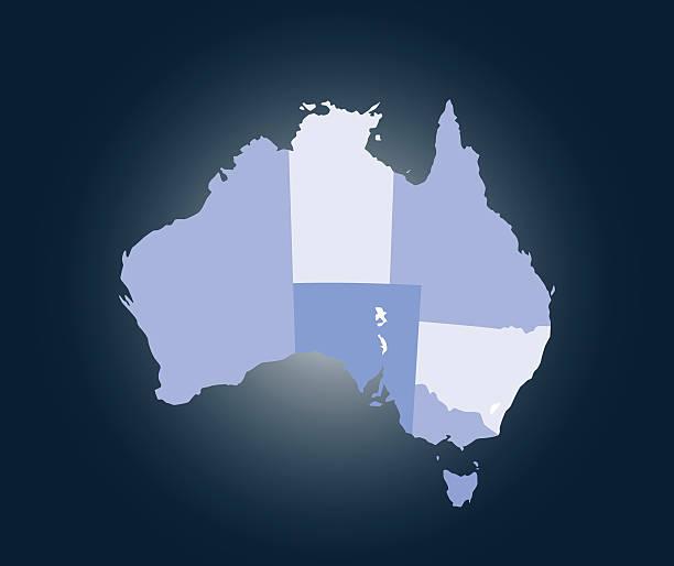 australia map outline vector illustration in blue background - western australia stock illustrations