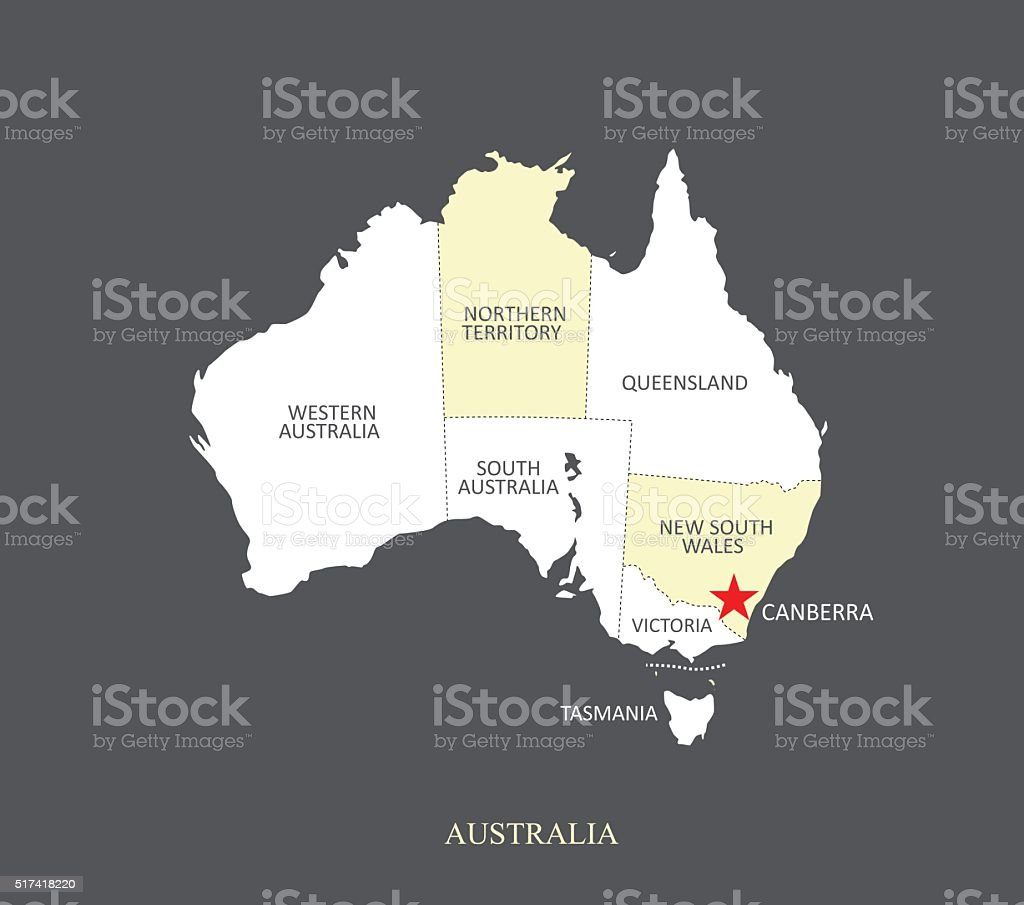 Australia map outline vector illustration with provinces borders australia map outline vector illustration with provinces borders and names royalty free australia map outline gumiabroncs Images