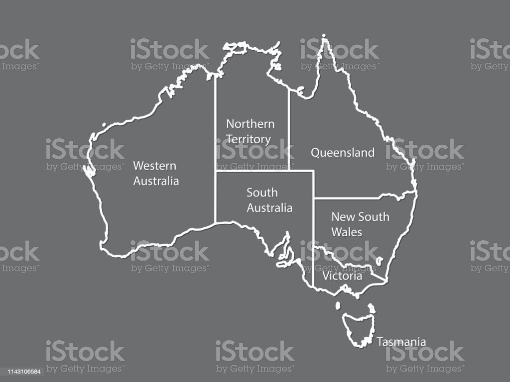 Australia Map Vector With States.Australia Map Outline Vector With State Names On Black Background