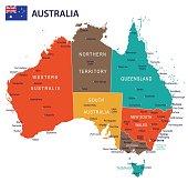 17 - Australia map - Red Green Brown Yellow 10