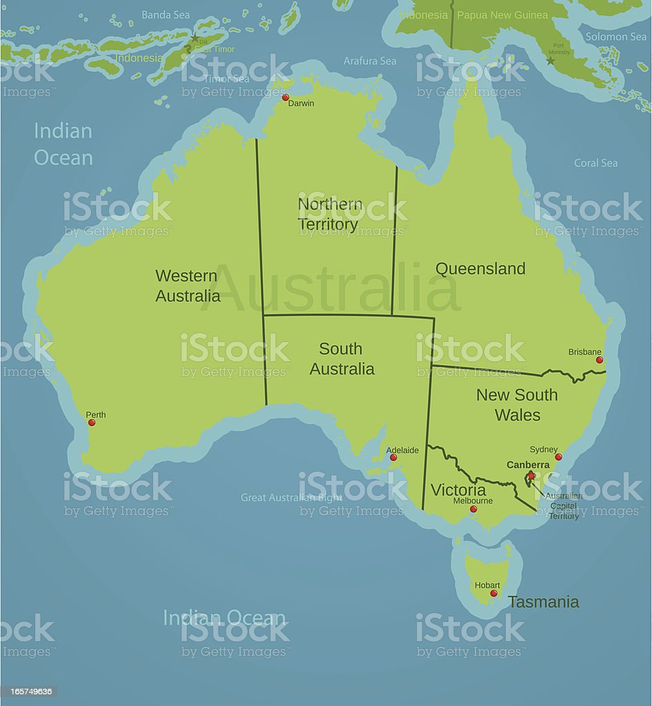 Map Showing Australia.Australia Map Showing States Stock Vector Art More Images Of