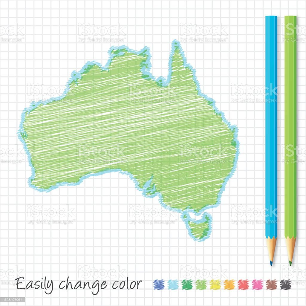 Australia Map Grid.Australia Map Sketch With Color Pencils On Grid Paper Stock Vector