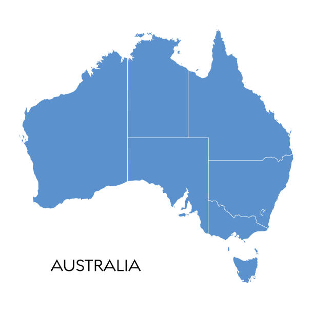Australia map Vector illustration of the map of Australia australia stock illustrations