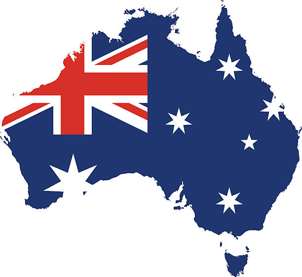 Australia Map – artystyczna grafika wektorowa