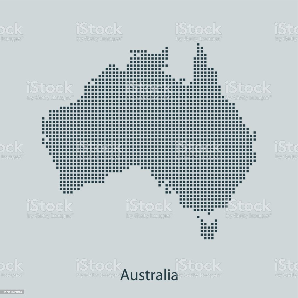 Australia map vector art illustration