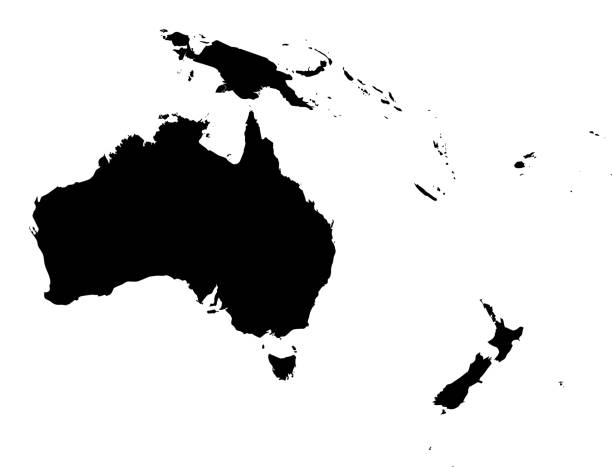 Australia Map Vector of highly detailed Australia map - The url of the reference file is : http://www.lib.utexas.edu/maps/world_maps/time_zones_ref_2008.pdf oceania stock illustrations