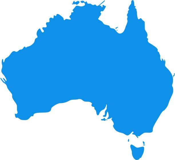 australia map. vector illustration. silhouette australian continent. - western australia stock illustrations