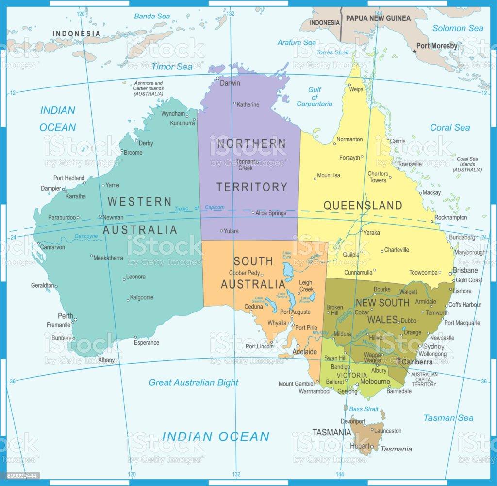 Australia Canberra Map.Australia Map Vector Illustration Stock Vector Art More Images Of