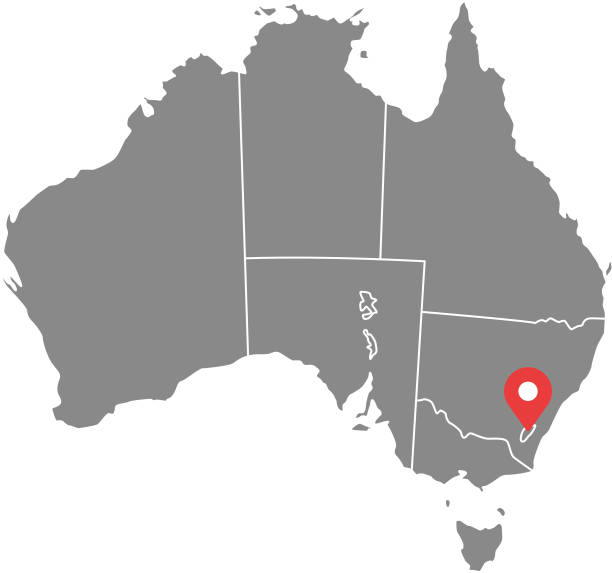 australia map vector outline illustration with provinces or states borders and capital location, canberra, in gray background. highly detailed accurate map of australia prepared by a map expert. - western australia stock illustrations