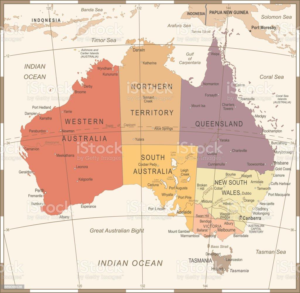 Australia Map - Vintage Vector Illustration vector art illustration