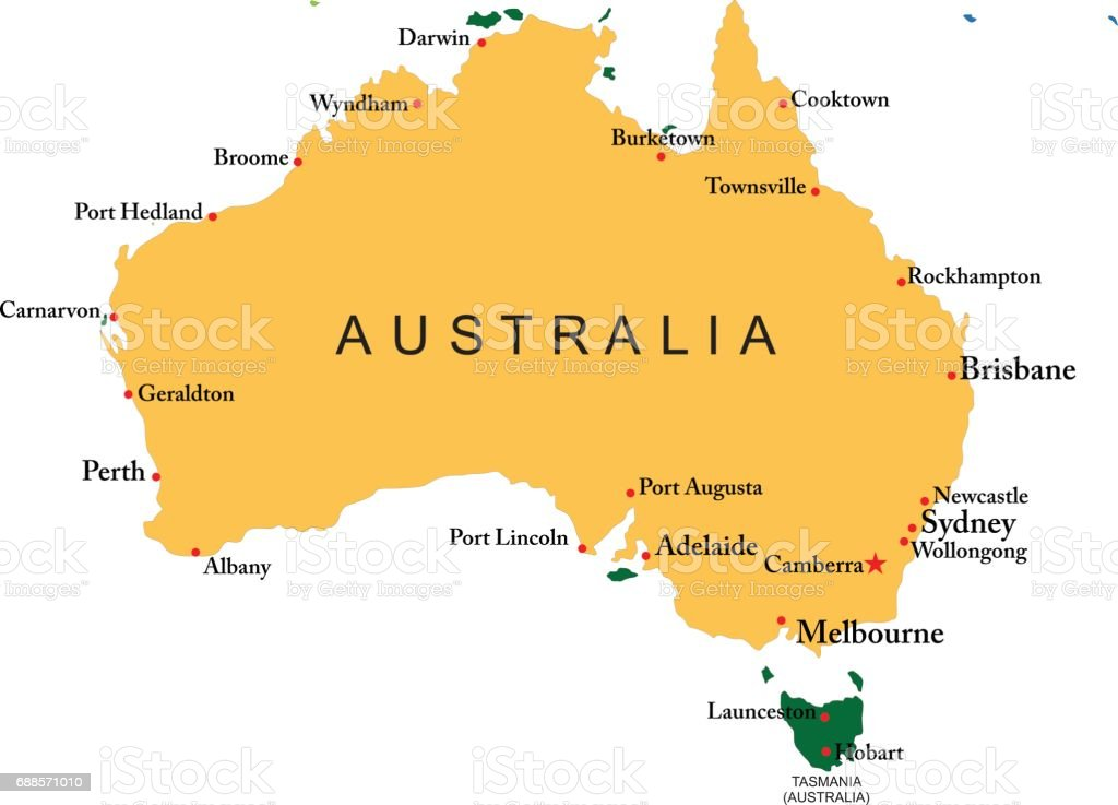 Australia Map With All Cities Stock Vector Art More Images Of - Australia map with cities