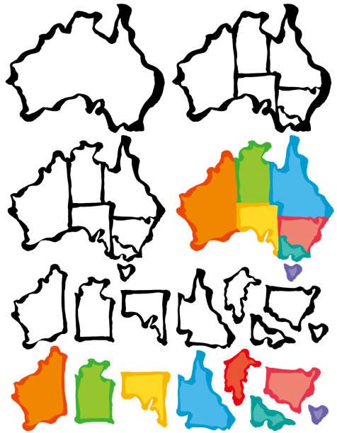 australia map with brush stroke. - western australia stock illustrations