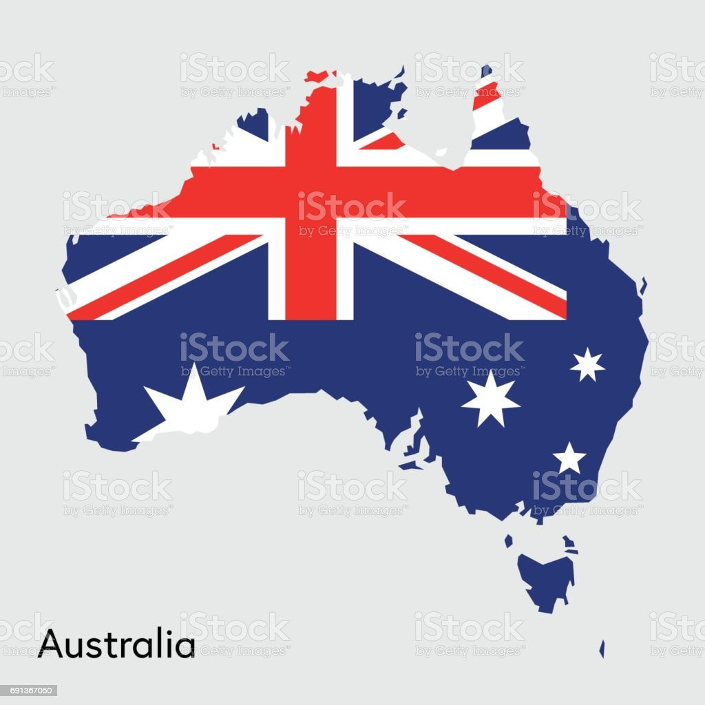 Australia Map And Flag.Australia Map With Flag Colors Stock Illustration Download Image