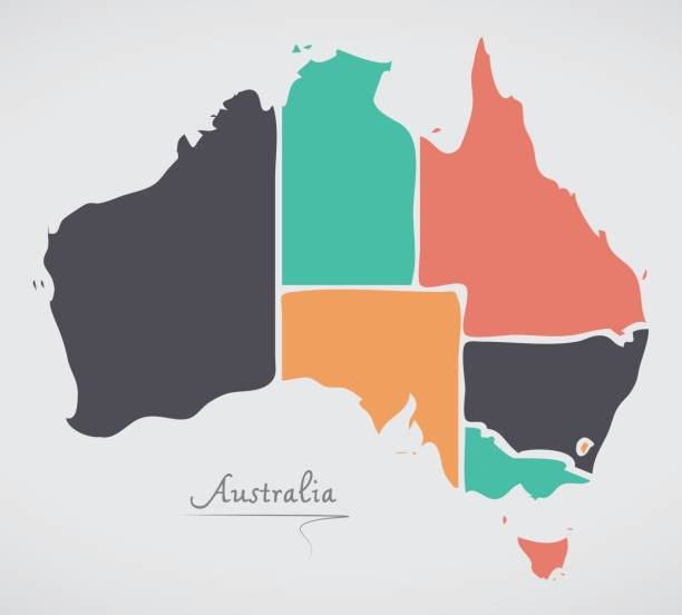 Australia Map with modern round shapes vector art illustration