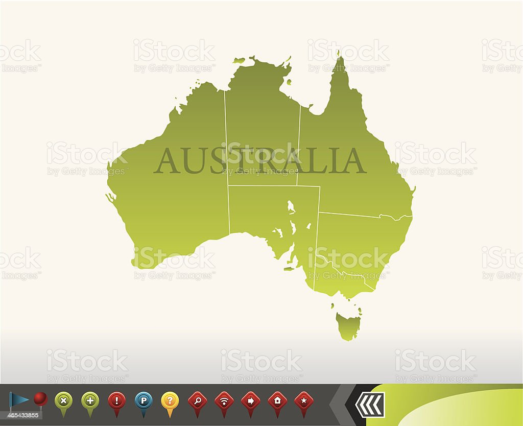 Australia map with navigation icons royalty-free stock vector art