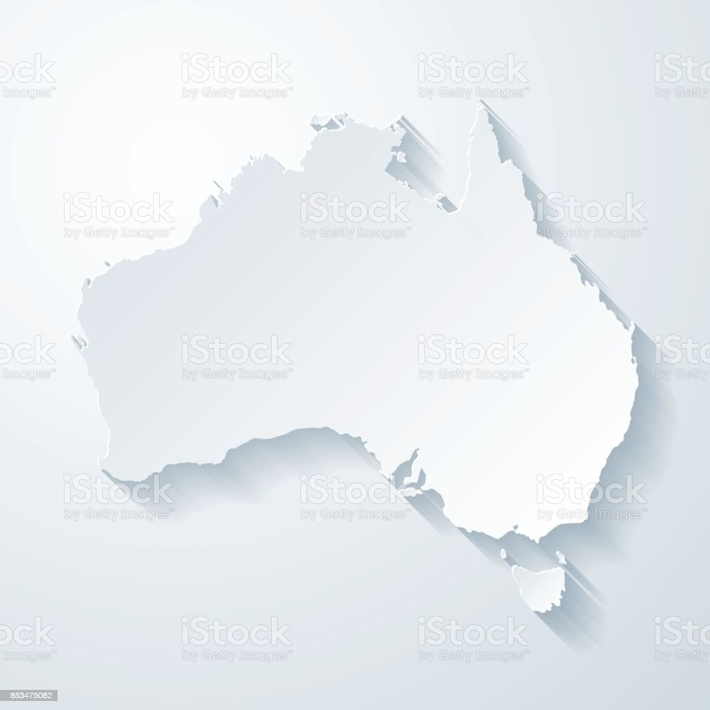 Australia map with paper cut effect on blank background vector art illustration