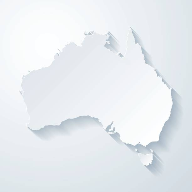 bildbanksillustrationer, clip art samt tecknat material och ikoner med australien karta med papper skära effekt på tomt bakgrund - australia