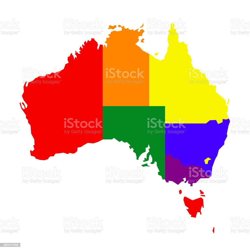 Australia Map With Rainbow Flag Colors Stock Vector Art More