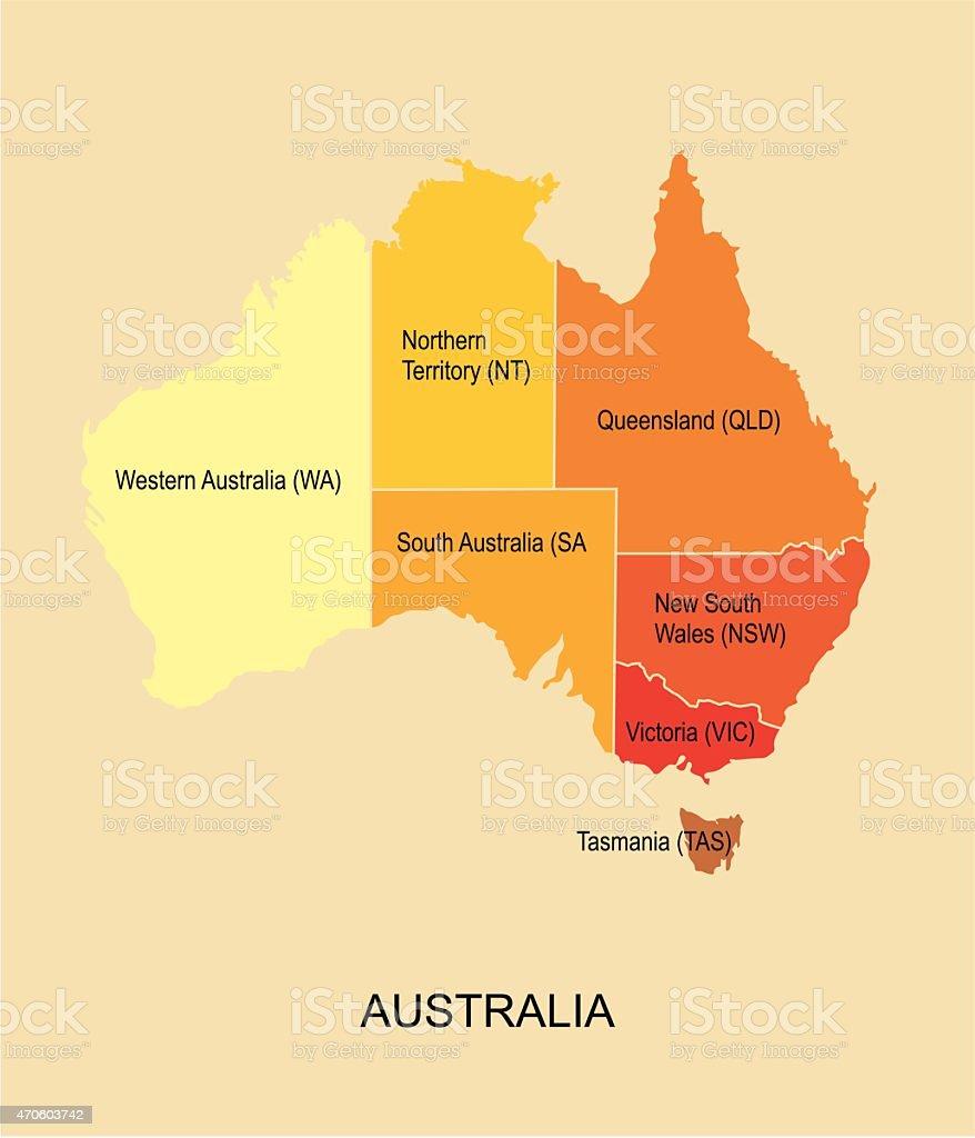 Australia map with regions vector art illustration