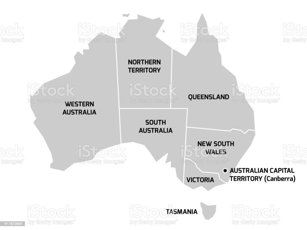 Australia Map Vector With States.Australia Map With States And Territories Stock Illustration