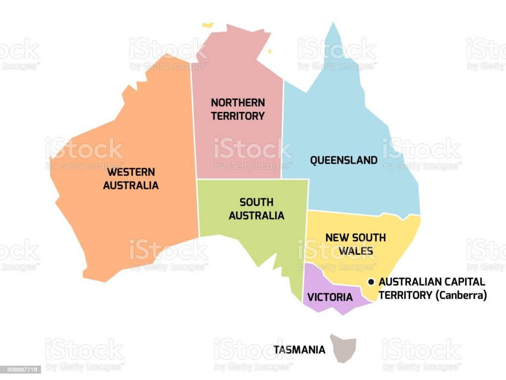 Australia Map And States.Australia Map With States And Territories Stock Illustration