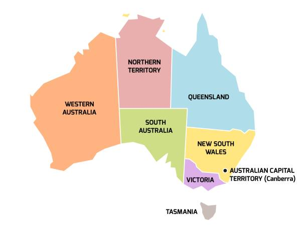 australia map with states and territories - western australia stock illustrations