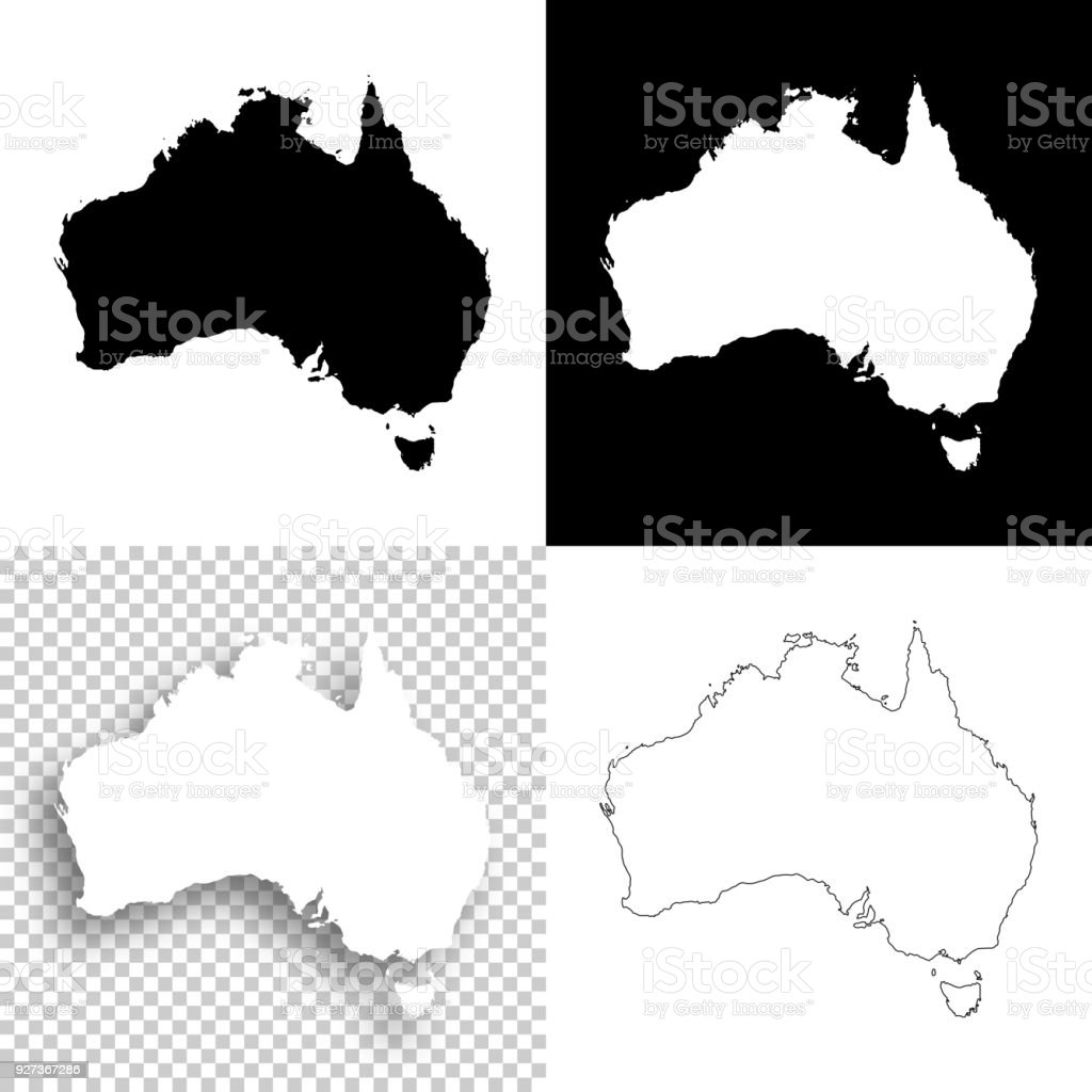 Australia Map Black And White.Australia Maps For Design Blank White And Black Backgrounds Stock