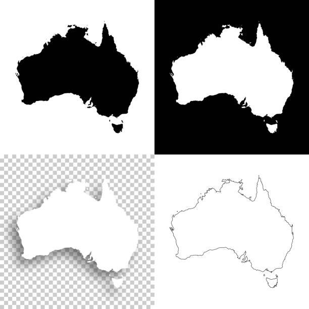 ilustraciones, imágenes clip art, dibujos animados e iconos de stock de mapas de australia para el diseño - en blanco, blancos y negros fondos - australia
