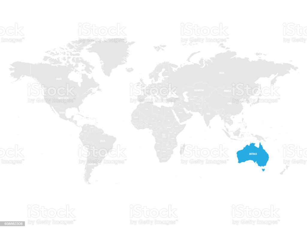 Australia marked by blue in grey world political map vector australia marked by blue in grey world political map vector illustration royalty free australia gumiabroncs Images