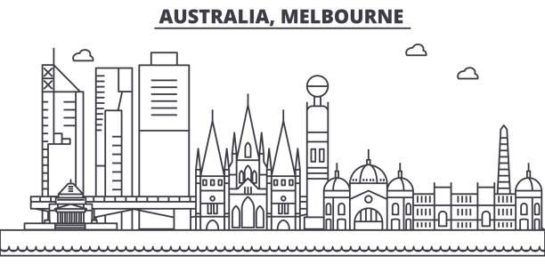 australia, melbourne architecture line skyline illustration. linear vector cityscape with famous landmarks, city sights, design icons. landscape wtih editable strokes - melbourne stock illustrations