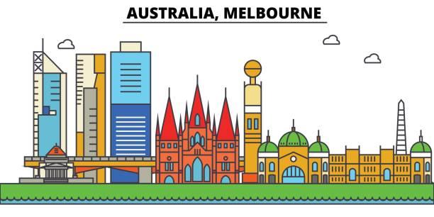 australia, melbourne. city skyline: architecture, buildings, streets, silhouette, landscape, panorama, landmarks. editable strokes. flat design line vector illustration concept. isolated icons set - melbourne stock illustrations