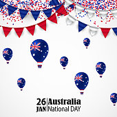 Australia Day. 26 January. National Flag Colors Air Balloons, Buntings, Confetti. Postcard Design for card, flyer banner